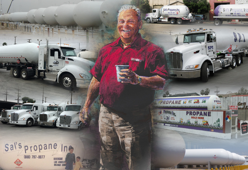 Painting of John Balsamo with Propane Trucks and Tanks Collage in Background